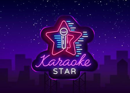 カラオケスターベクトル。ネオンサイン、発光ロゴ、シンボル、ライトバナー。広告明るい夜のカラオケバー、パーティー、ディスコバー、ナイト