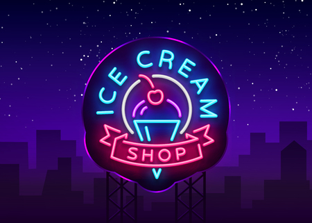 Ice cream shop neon sign. Ice cream shop logo in neon style, symbol, light banner, bright night advertising ice cream, billboard. Design template. Vector illustration. Billboard. Ilustracja