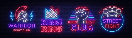 Fight Club collection neon signs. Set logo in neon style. Design template. King of the Ring, Warrior, Iron Fist, Street Fight MMA. Light banner, bright night neon advertisement. Vector illustration.