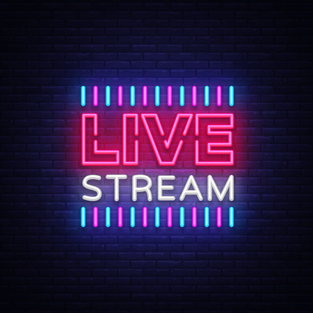 Neon sign live stream design element. Light banner, neon signboard for news and TV shows, as well as live broadcasts. Vector illustration. Vettoriali