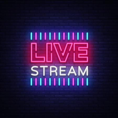 Insegna al neon live stream elemento di design. Banner luminoso, insegna al neon per notizie e programmi TV, nonché trasmissioni in diretta. Illustrazione vettoriale Vettoriali