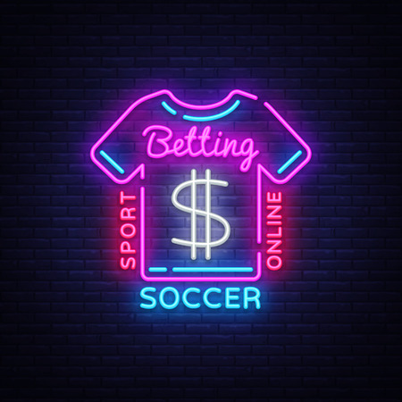 Betting Soccer neon sign. Football betting icon in neon style