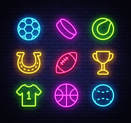 Sport collection icons neon style. Sport set of neon signs.