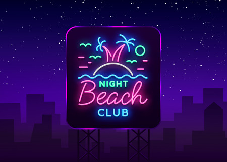 Beach nightclub neon sign. Logo in Neon Style, Symbol, Design Template for Nightclub, Night Party Advertising, Discos, Celebration. Neon banner, postcard, card. Summer Vector illustration Billboard