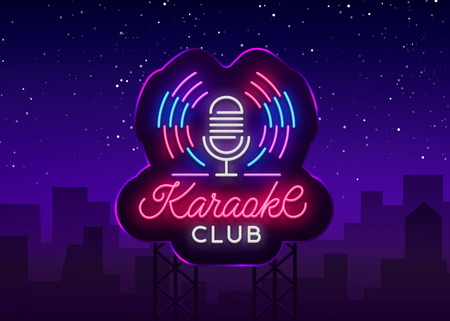 Karaoke Club Logo in Neon Style. Neon sign, bright nightly neon advertising Karaoke. Light banner, bright night billboard. Vector illustration. Billboard.