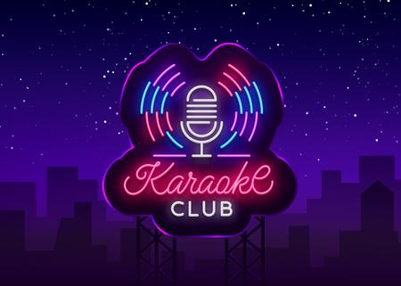 Logo del club karaoke in stile neon. Insegna al neon, neon luminoso notturno che fa pubblicità al Karaoke. Banner luminoso, cartellone notturno luminoso. Illustrazione vettoriale. Tabellone.