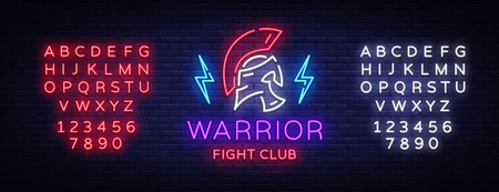 Fight Club neon sign. Warrior in neon style. Design template, sports, Spartan warrior. Night Fight, MMA. Light banner, bright night neon advertisement. Vector. Editing text neon sign