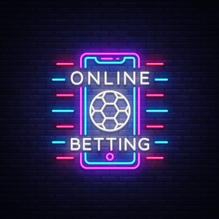Online betting neon sign. Sports betting. Online betting logo, neon symbol, light banner, bright night advertising, gambling, casino. Vector