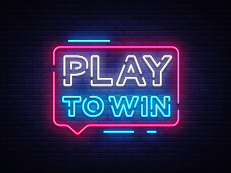 Play to win neon sign. Gambling slogan, Casino, Betting design element, Night neon signboard. Vector illustration Stock fotó - 100144876