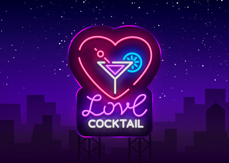 Cocktail logo in neon style. Love Cocktail. Neon sign, Design template for drinks, alcoholic beverages. Light banner, Bright nightlight advertising for cocktail bar, party. Vector. Billboard.