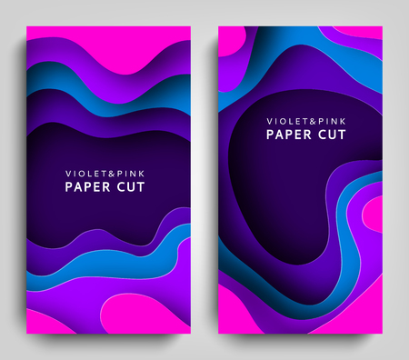 Vertical banners paper cut. Paper art in violet and blue colors. 3D abstract background with paper cut shapes. Carving art. Design layout for business presentations, posters and invitations. Vector