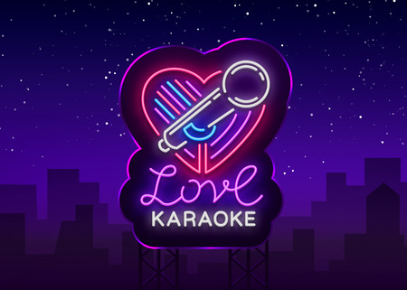 Karaoke Love logo in neon style. Neon sign, bright nightly neon advertising Karaoke. Light banner, bright night billboard. Vector illustration. Billboard
