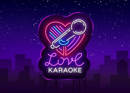Karaoke Love logo in neon style. Neon sign, bright nightly neon advertising Karaoke. Light banner, bright night billboard. Vector illustration. Billboard