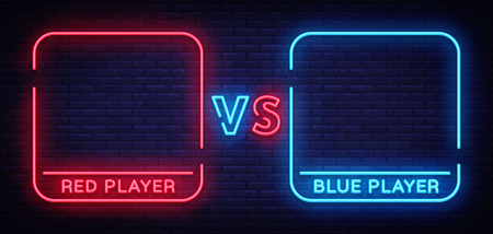 Versus neon sign. Neon symbol, icon, logo design template confrontation. Light banner, bright night advertising. Vector illustration. 일러스트