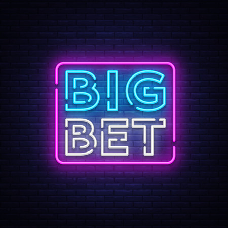Big Bet Neon sign vector. Çizim