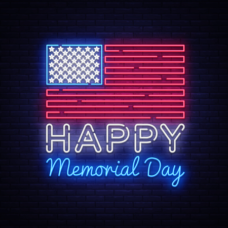 Happy Memorial Day neon sign. Neon signboard greeting card, light banner, night sign advertising celebration Memorial Day, USA Holiday. Vector illustration