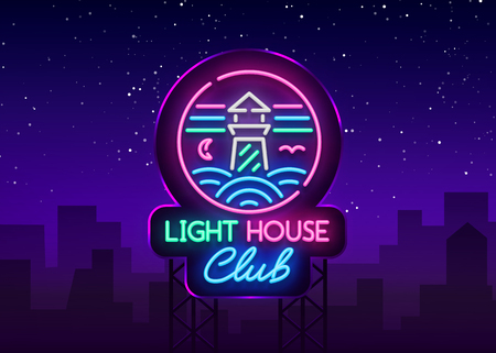 Night Club Lighthouse Neon Sign Vector  isolated on dark background.