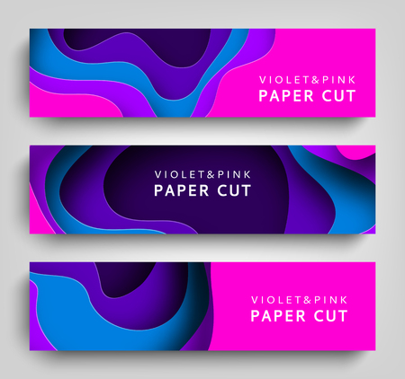 Paper cut set horizontal banners vector background. Paper art is violet and blue colors. Square template with paper figures. Bright modern design for poster, flyer, poster, postcard