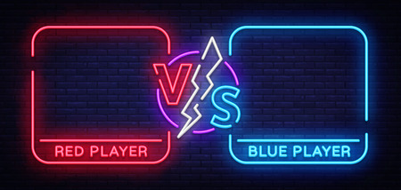 Versus screen design in neon style  イラスト・ベクター素材