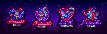 Karaoke set of neon signs. Collection is a light logo, a symbol, a light banner. Banque d'images - 100549056