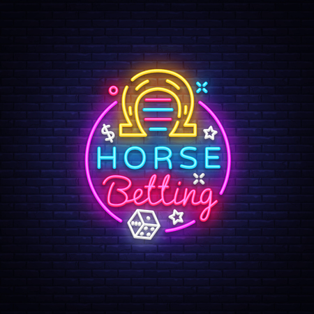 Horse Betting Logo in Neon Style. Horse Betting Neon Sign Vector, Design Element. Betting Sports, Horse racing symbol, icon, emblem. Light banner, bright night advertising. Vector illustration.  イラスト・ベクター素材