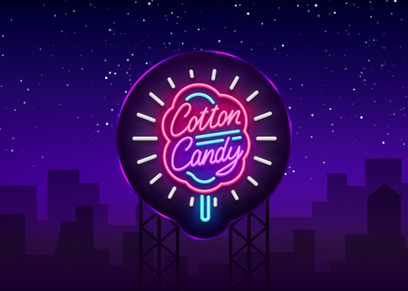 Cotton candy neon sign. Cotton candy logo in neon style symbol banner light, bright cotton candy night advertising, billboard. Design template. Vector illustration. Billboard.  イラスト・ベクター素材