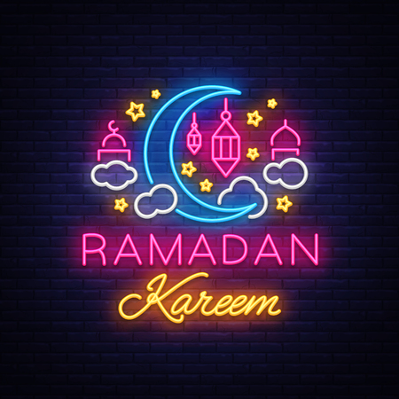 Ramadan Kareem greeting cards, neon sign. Design template, light banner, night neon advert. Ramadan Kareem - Glorious month of Muslim year. Vector illustration. Illustration