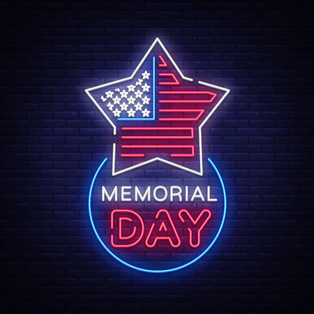 Happy Memorial Day neon sign. Neon signboard greeting card, light banner, night sign advertising celebration Memorial Day, USA Holiday Vector illustration