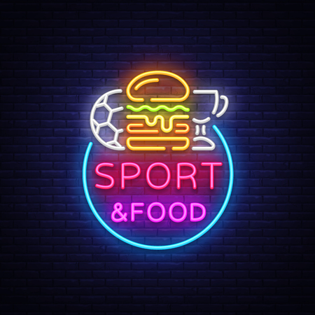 Sport Food Neon Sign Vector. Stock Illustratie