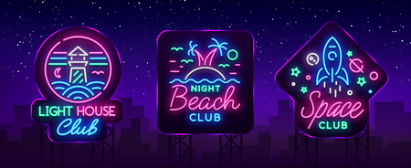 Nightclub set of neon signs. Icon Collection in Neon Style, Symbol. Lighthouse, Beach, Space. Design a template for a nightclub, Night party advertising, discos, celebrations.
