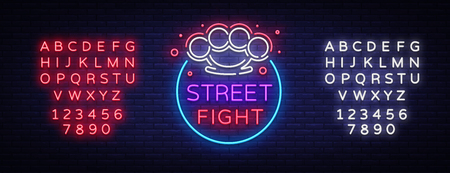 Street fight logo in neon style. Fight Club neon sign. Logo with brass knuckles.
