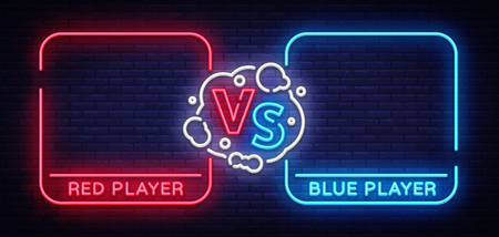 Versus screen design in neon style. ion.
