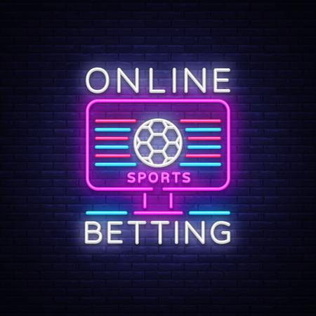 Online betting neon sign. Illustration