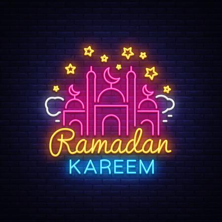 Ramadan Kareem greeting cards, neon sign. Design template, light banner, night neon advert. Ramadan Kareem - Glorious month of Muslim year. Vector illustration. Stock Vector - 100273420