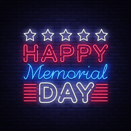 Memorial Day Vector. Memorial Day neon sign, design template, greeting card in neon style, light banner, design element, nightlife signboard. Vector illustration.