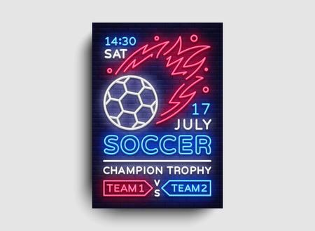 Soccer poster neon vector. Football postcard flyer design template, light banner, bright brochure soccer championship, invitation to European football, typography. 일러스트
