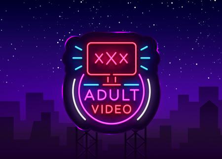 Enseigne au néon vidéo adulte. Modèle de conception, vidéo de logo néon, industrie, bannière lumineuse, publicité lumineuse de nuit. Illustration vectorielle. Panneau d'affichage