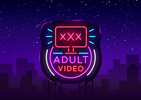Letrero de neón de video para adultos. Plantilla de diseño, video de logotipo de neón, industria, banner de luz, publicidad de luz brillante nocturna. Ilustración de vector. Cartelera