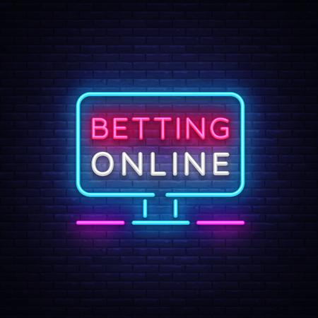 Betting Online neon sign. Gambling slogan, Casino, Betting design element, Night neon signboard. Vector illustration