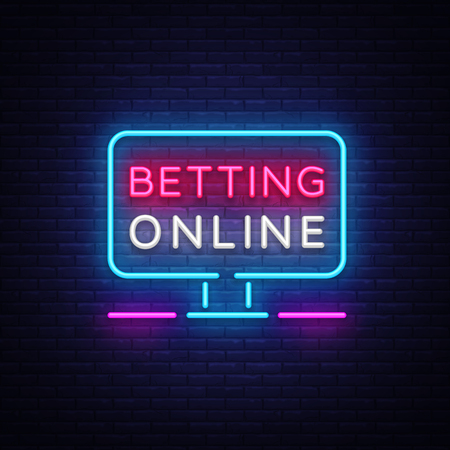 Scommesse online insegna al neon. Slogan del gioco d'azzardo, casinò, elemento di design delle scommesse, insegna al neon notturna. Illustrazione vettoriale