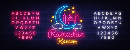 Ramadan Kareem neon sign. Ramadan Kareem vector banner in neon style, night bright signboard, celebration of Muslim community festival, islamic greeting design, greeting card. Editing text neon sign  イラスト・ベクター素材