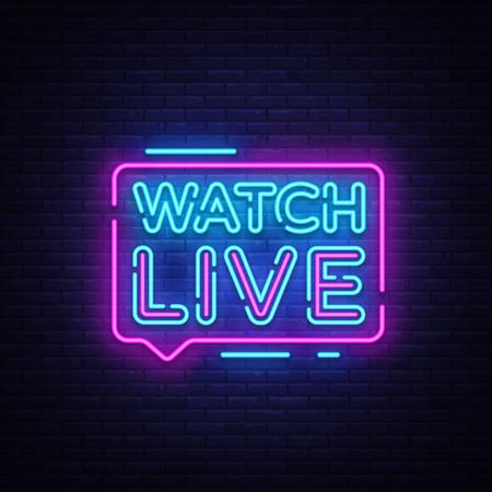Ver letrero de neón de etiqueta en vivo. Reloj de texto de neón en vivo. Vista en línea. Ilustración vectorial Ilustración de vector