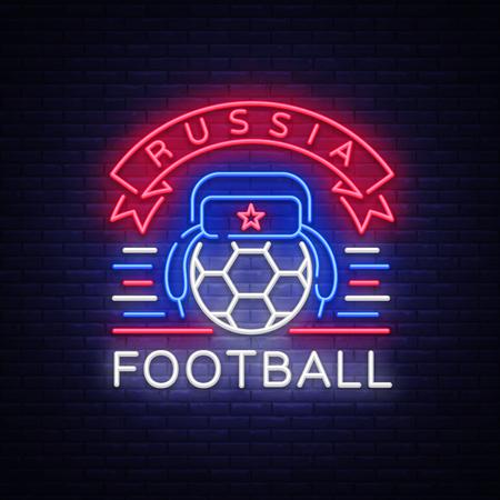 Soccer championship logo neon vector. Soccer neon sign, European Football Cup 2018, Light Banner, Design Template whit Russian Earflaps, Soccer Russia, neon signboard, football advertising. Vector