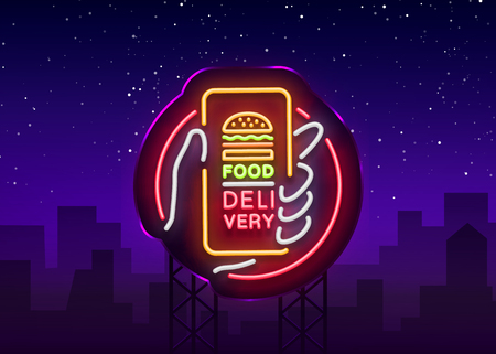 Food Delivery neon sign. Smartphone in hands, ordering food through smartphone, symbol in neon style, light banner, bright night neon advertising food delivery. Vector illustration. Billboard.