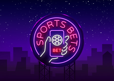 Sports betting is a neon sign. Design template, Neon style logo, bright banner, night advertising for your projects, smartphone in your hand, online betting on football. Vector illustration. Billboard