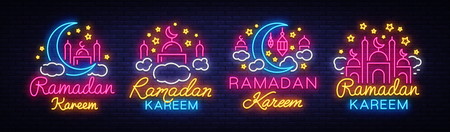 Ramadan Kareem collection neon signs. Ramadan Kareem vector banner in neon style, night bright signboard, celebration of Muslim community festival, islamic greeting design, greeting card, advertising.