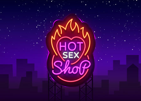 Sex shop logo in neon style. Design Pattern, Hot Sex Shop Neon sign, Light banner on the theme of the industry, Bright neon advertising for your projects. Vector. Billboard.
