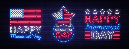 Happy Memorial Day collection neon signs. Neon signboard greeting card, light banner, night sign advertising celebration Memorial Day, USA Holiday. Vector illustration. Stock Illustratie