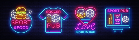 Sports bar collection logos neon vector. Sports pub set neon signs, Football and Soccer concepts.