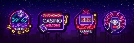 Casino collection of neon signs. Design template in neon style. Slot Machines, Poker Online Bright Logo Character, Winning Jackpot, Web Banner, Nightly Casino Advertising. Vector. Billboard